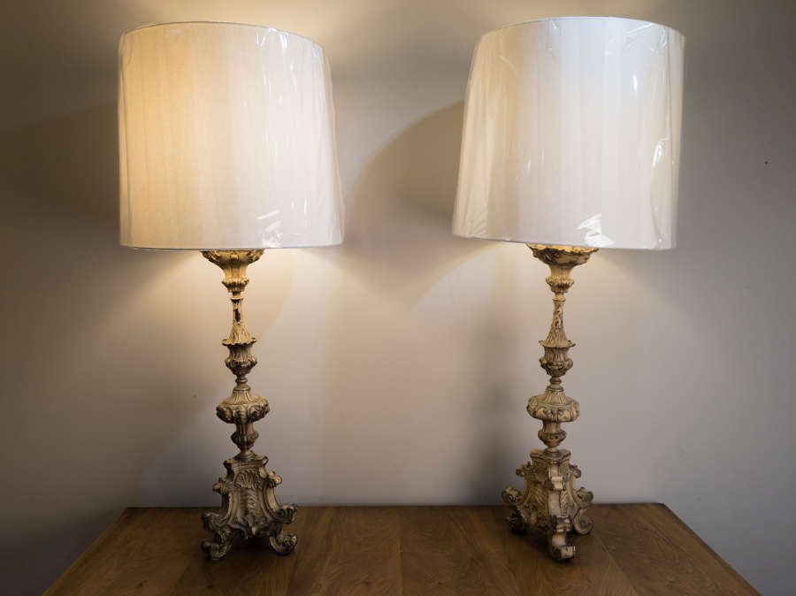An early 19th Century pair of Tole Candlestick lamps