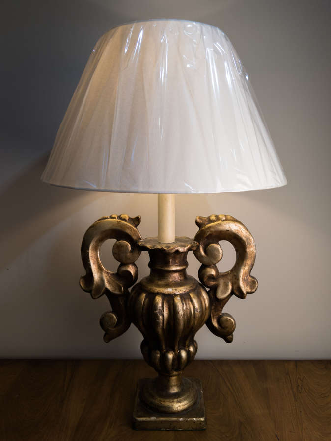 Circa 1920 A French Gilt Wood Table Lamp
