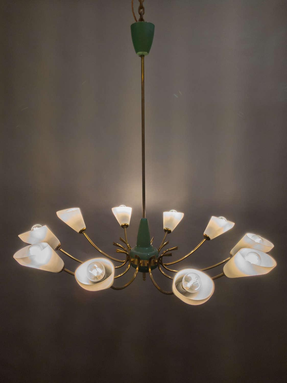 A Mid Century Italian Brass Ceiling Light