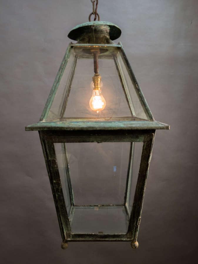 A 19th Century Verdigris Copper Lantern