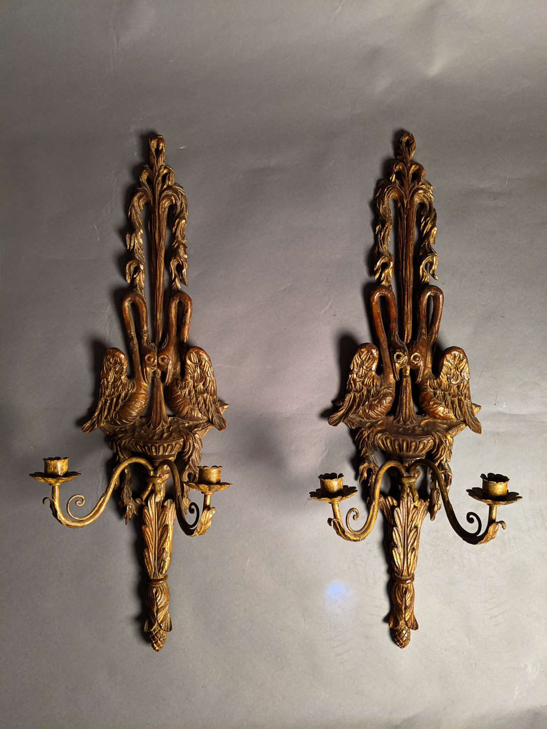 A 19th Century pair of Gilt Wood Swan Candle Sconces