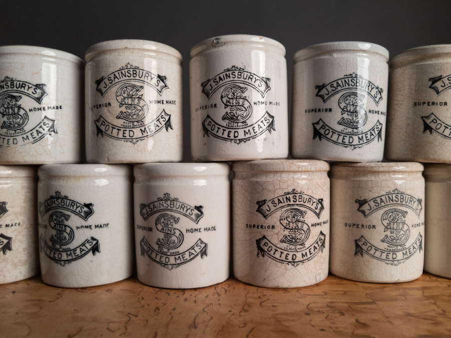 Mid Century J. Sainsbury's Potted Meats Stoneware Pots