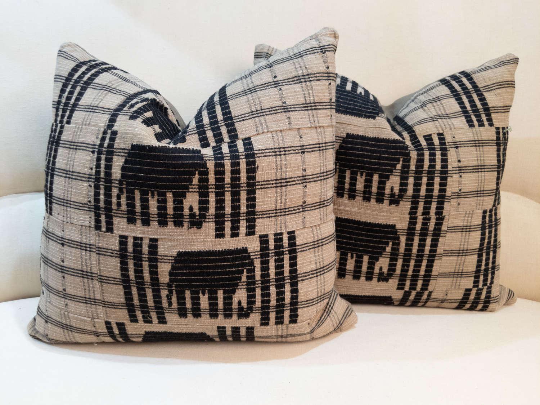 Mid Century West African Elephant Cushions
