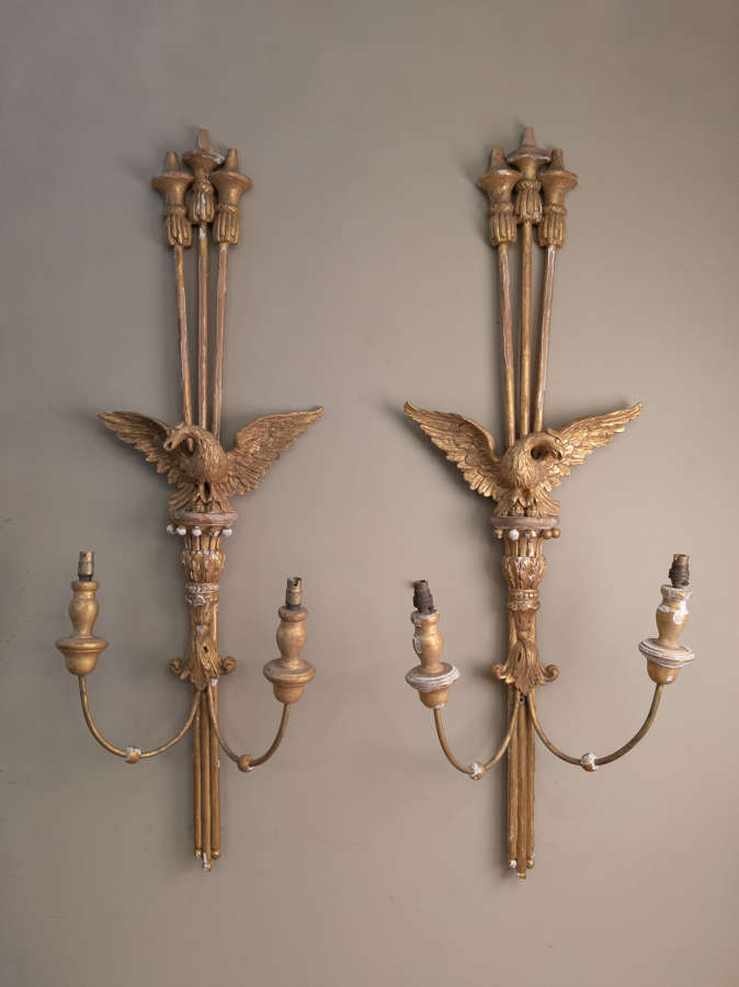 C1920 A Pair of Gilt Wooden Eagle Sconces