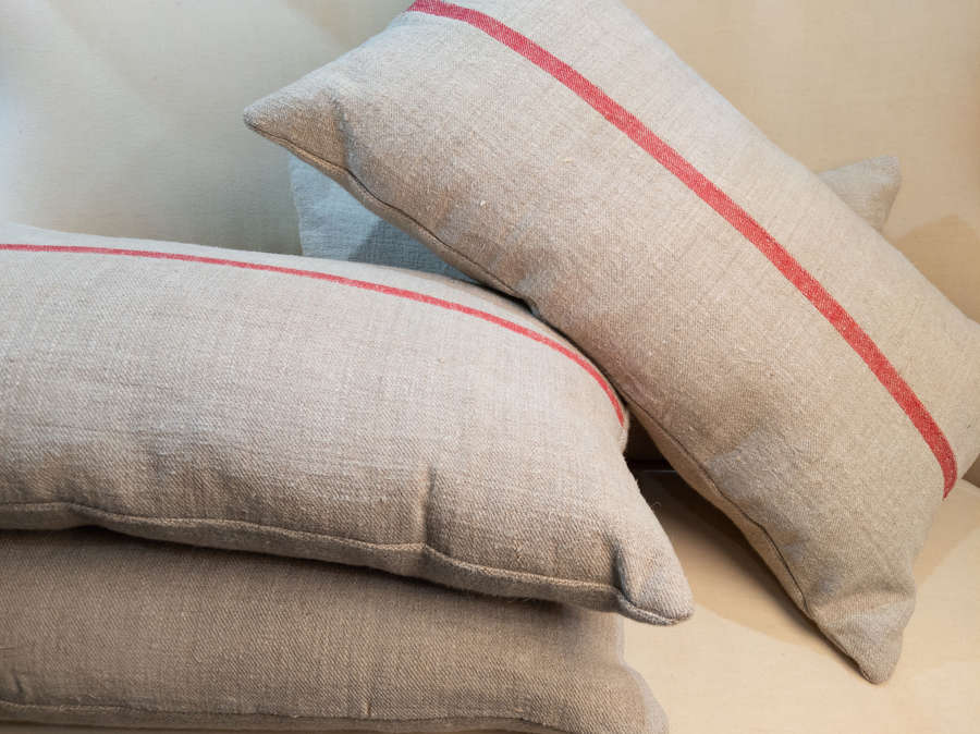 C1930 French Woven Linen Custom Cushions