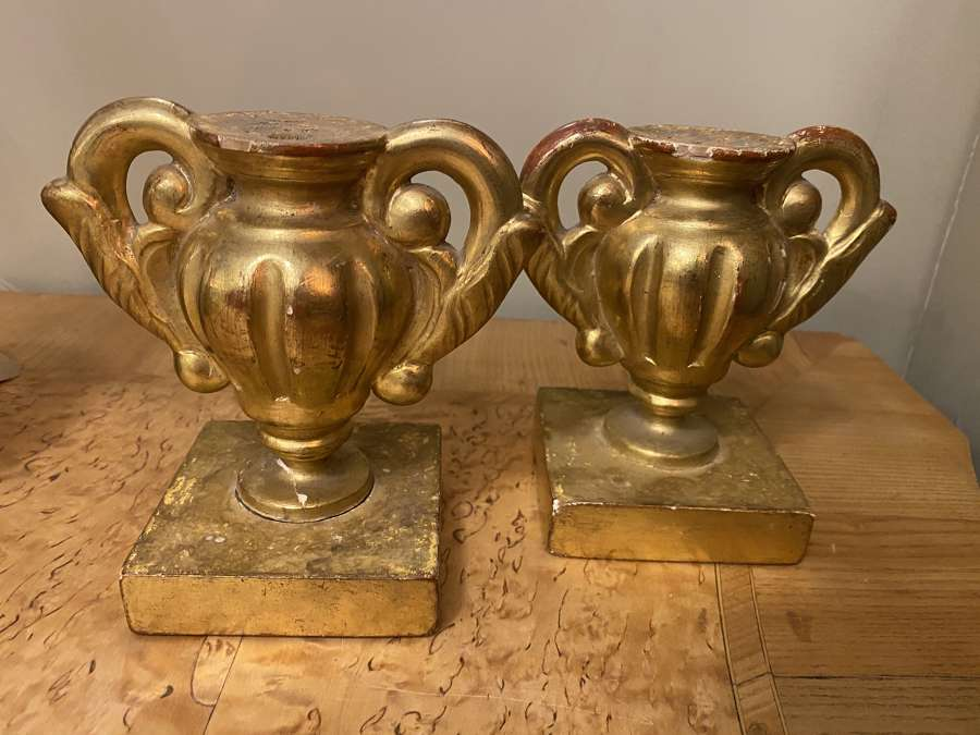 C1800 A Pair of Gilt Gesso Urn Fragments
