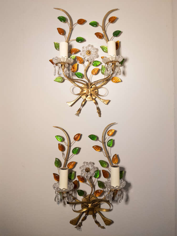 C1960 A Pair of French Glass Sconces