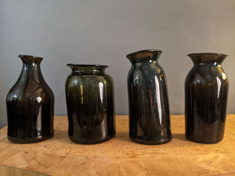 Circa 1820 Green/Brown Flemish Glass Vases
