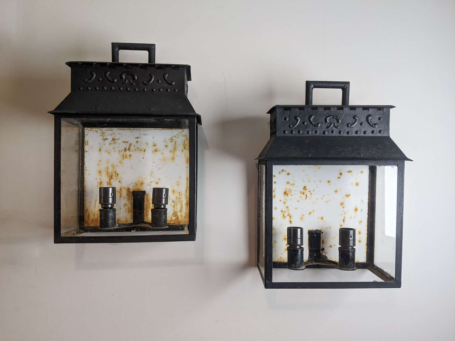 C.1930 A Pair of Tole Wall Lanterns - rewired
