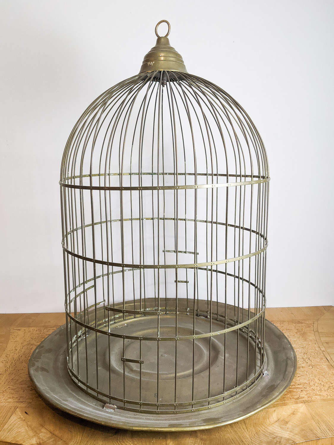 C1930 A Large Brass Bird Cage