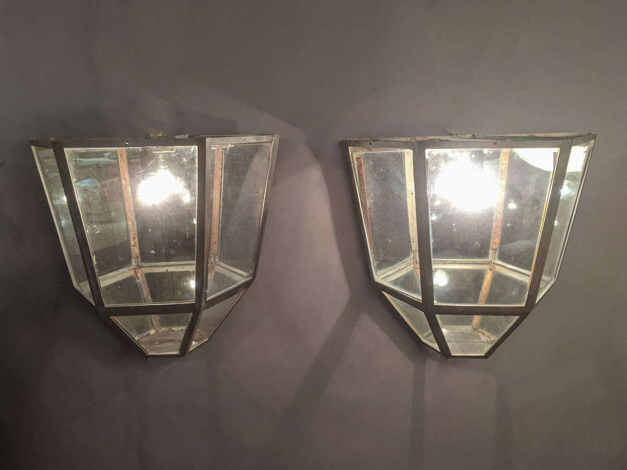 C1930 A Pair of metal Wall Lanterns
