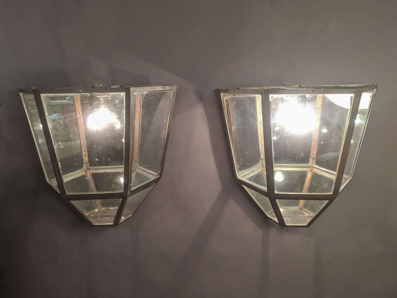 C1930 A Pair of metal Wall Lanterns