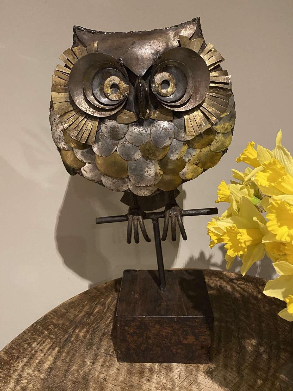 C1960 A Mid Century Metal Sculpture of an Owl
