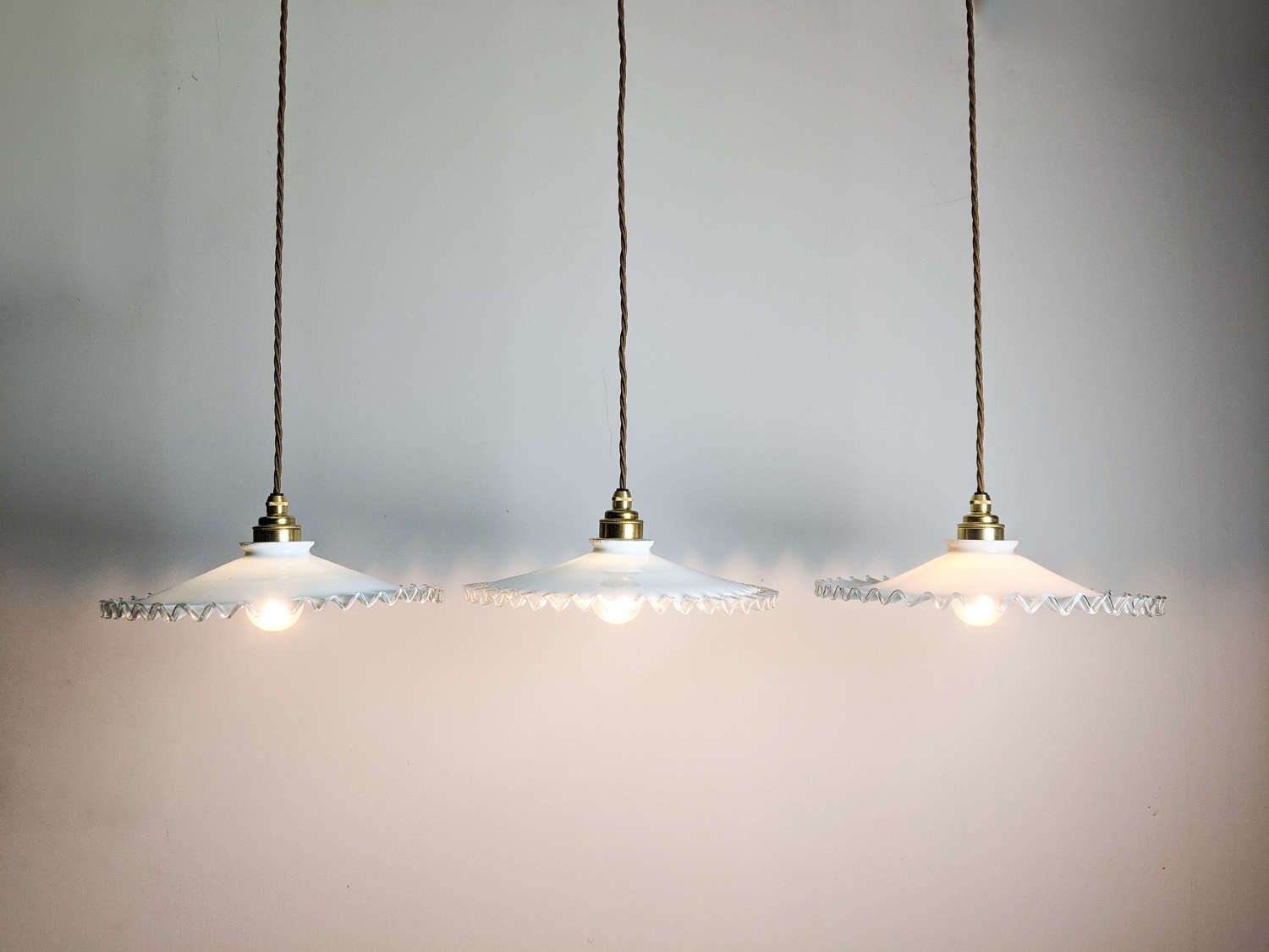 C1930 Opaline Glass Pie Crust Pendant Shades