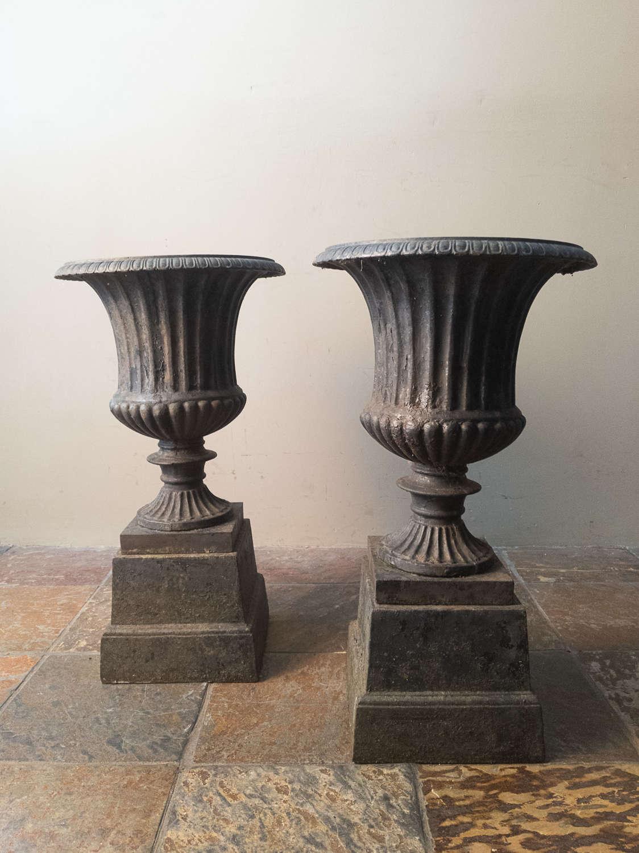 C1930 A Pair of Cast Iron Urns - Original Paint