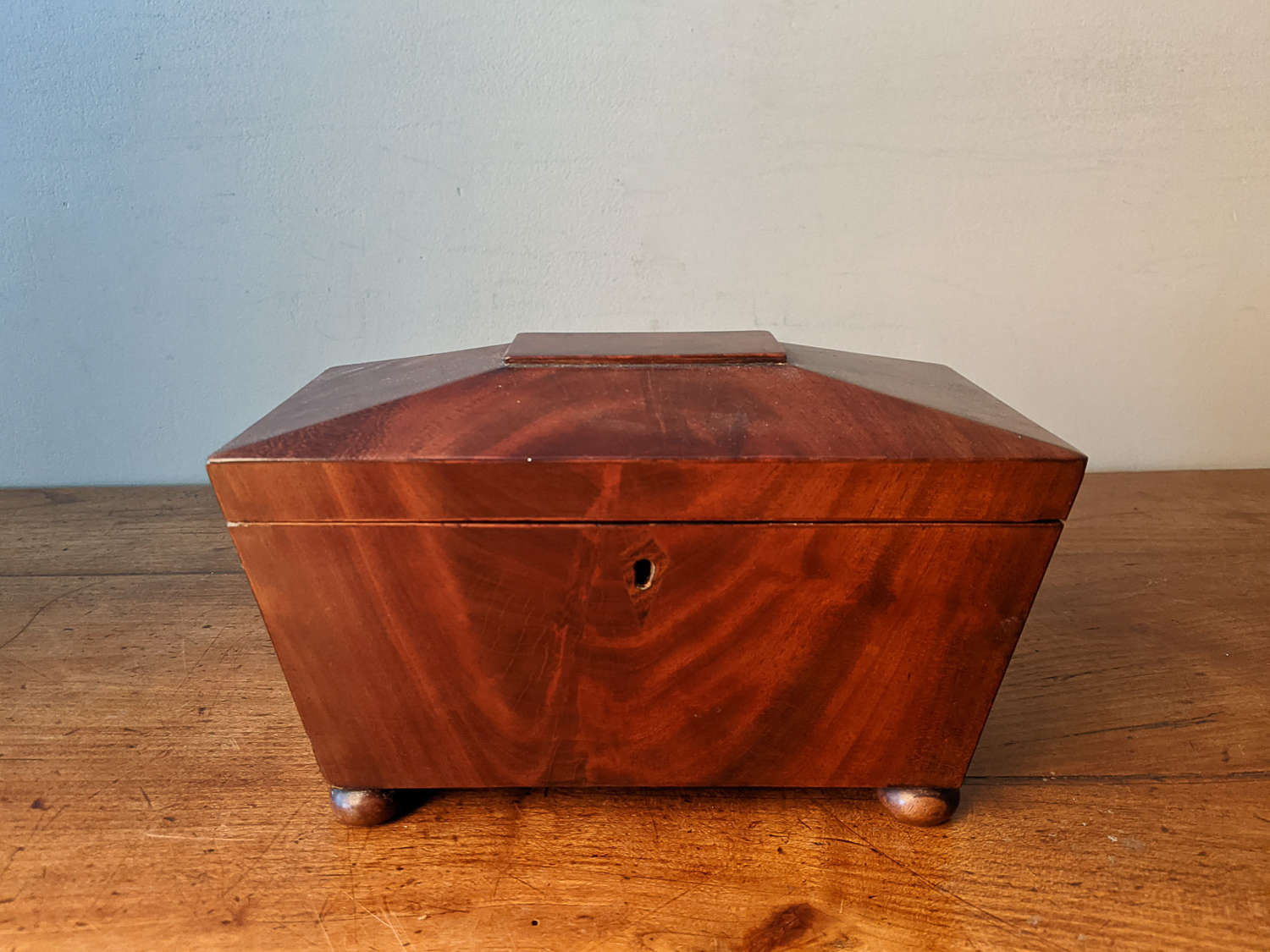 C1820 A Regency Mahogany Sarcophagus Tea Caddy