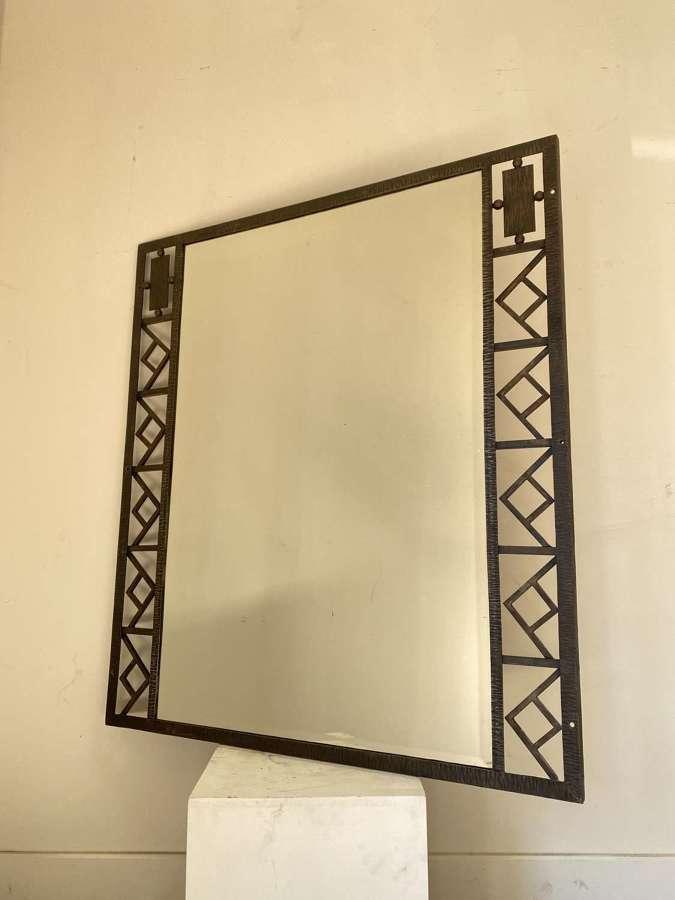 C1930 A Stylish French Iron Geometric Mirror