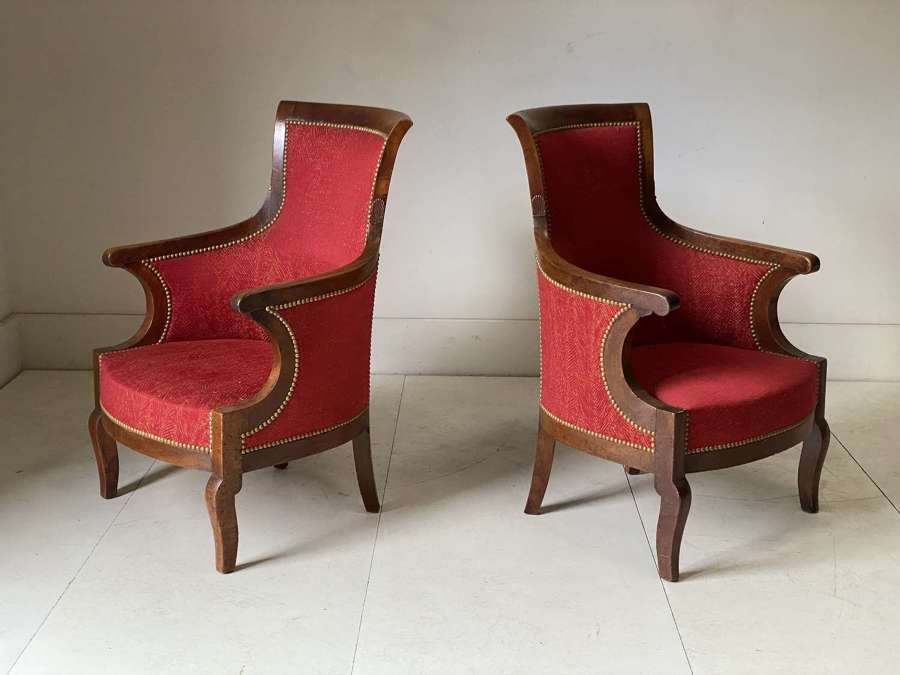 C1820 A Pair of French Walnut Armchairs
