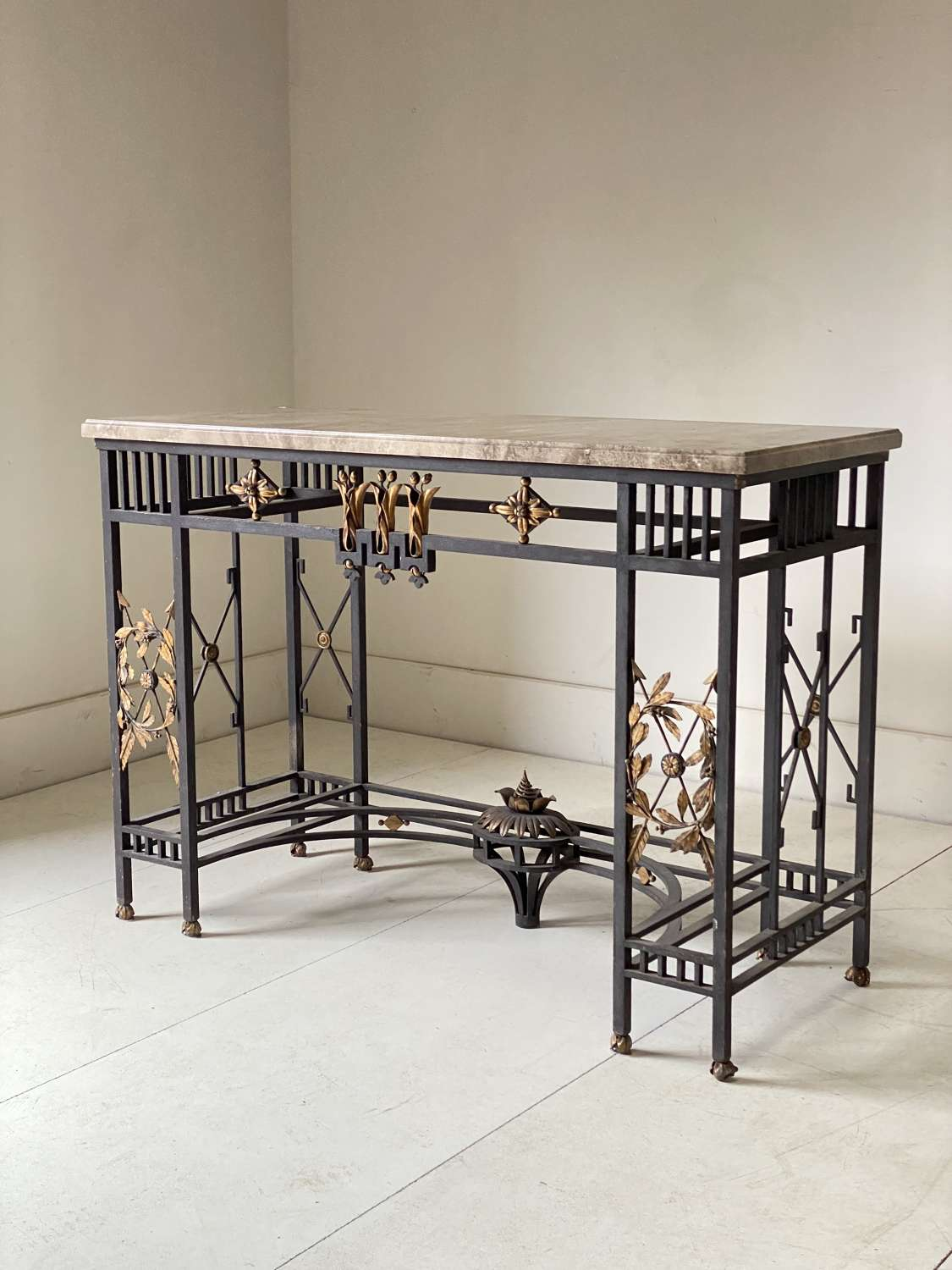 C1890 An Important French Iron & Marble Console
