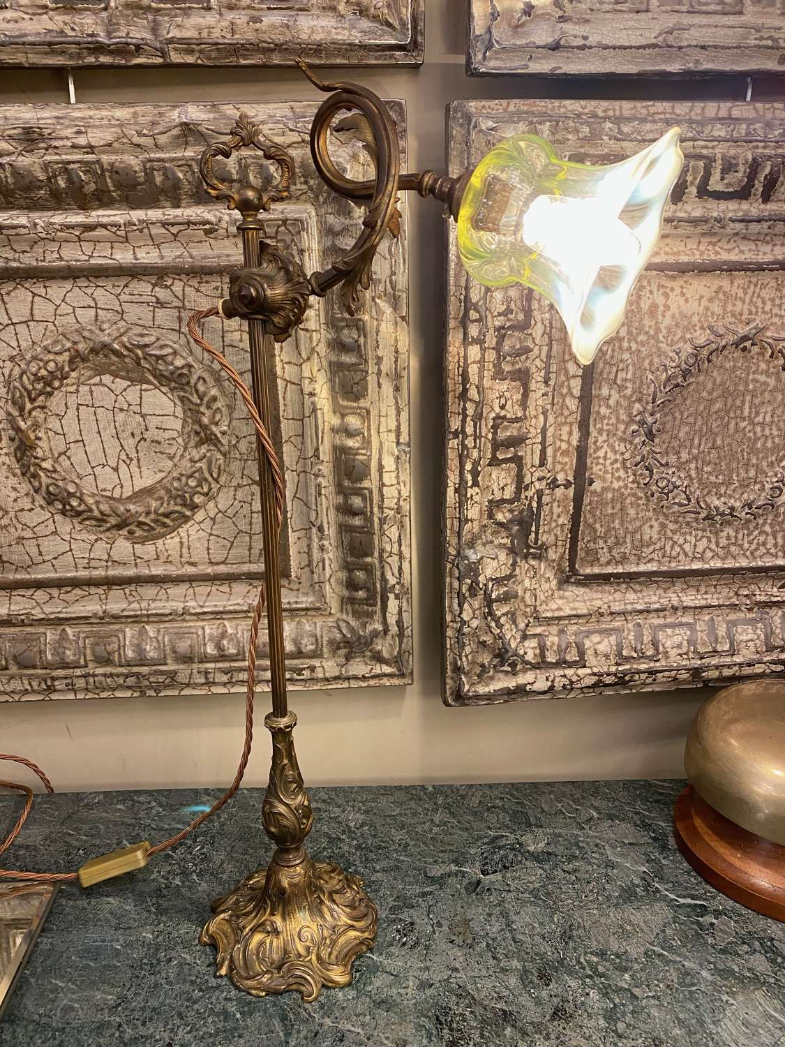C1890 A French Brass Table Lamp with Vaseline Shade