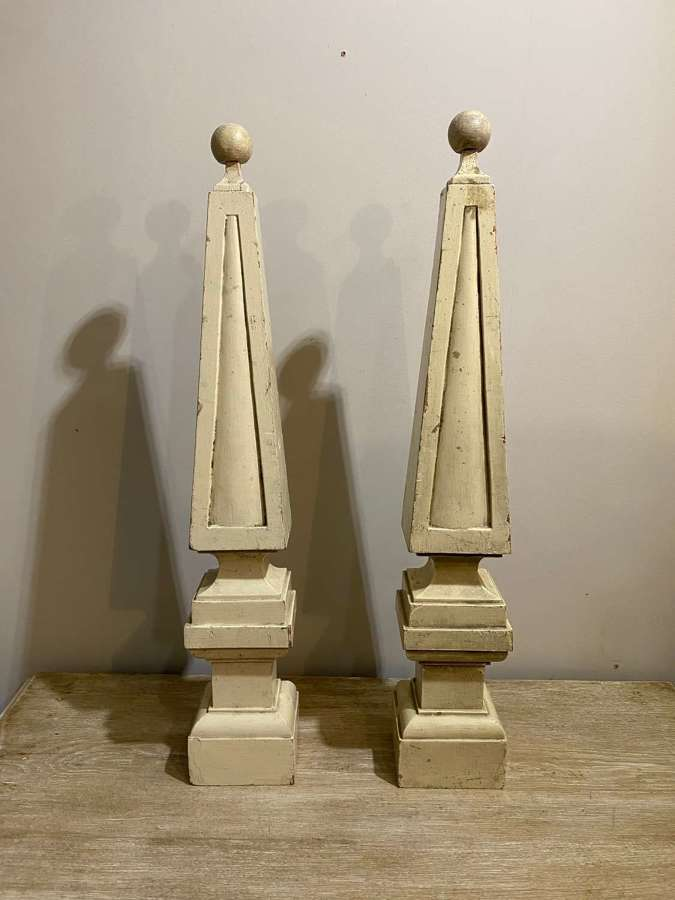 C1850 A Pair of Painted Wooden Obelisk