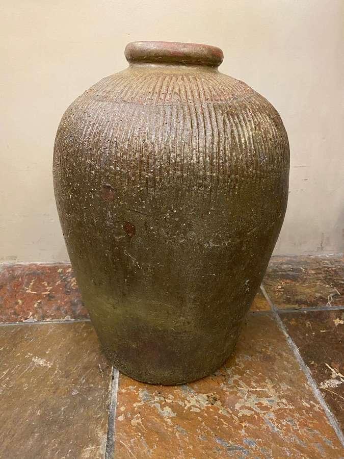 C1870 A Large Ribbed Stoneware Pot