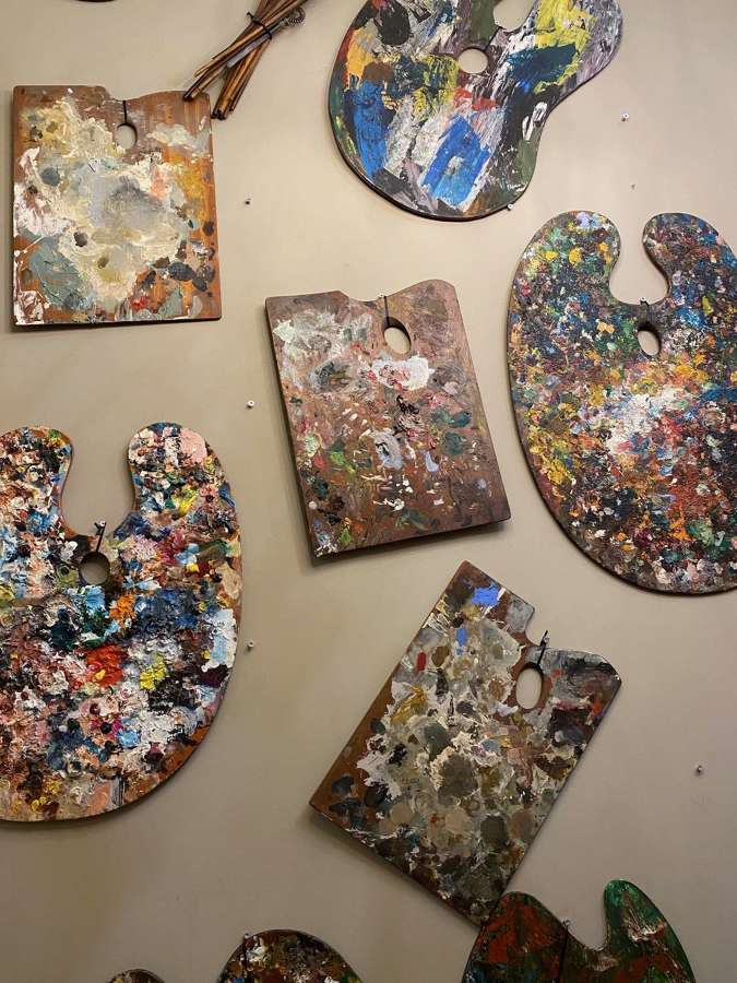 C1950s A Collection of 10 Artists Painting Palettes