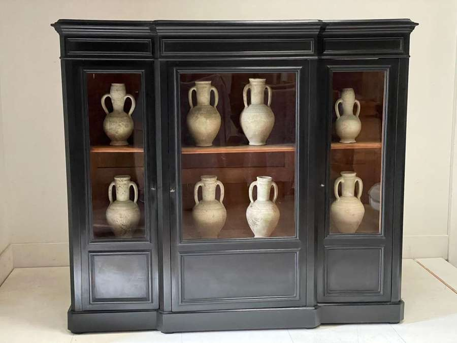 C1870 A French Breakfront 3 Door Ebonised Cabinet