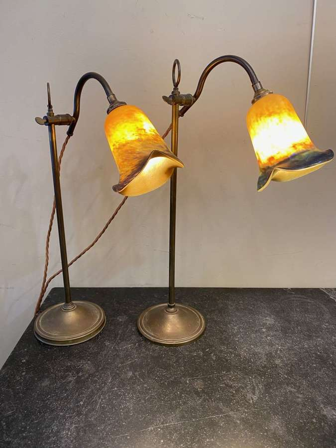 C1930 A Matched Pair of French Brass Pump Lamps
