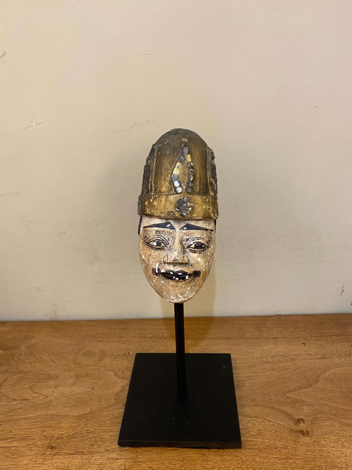 C1890 A Carved Wood Polynesian Puppet Head