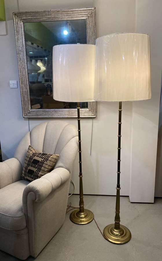 C1950 A Pair of Faux Bamboo Brass Floor Lamps