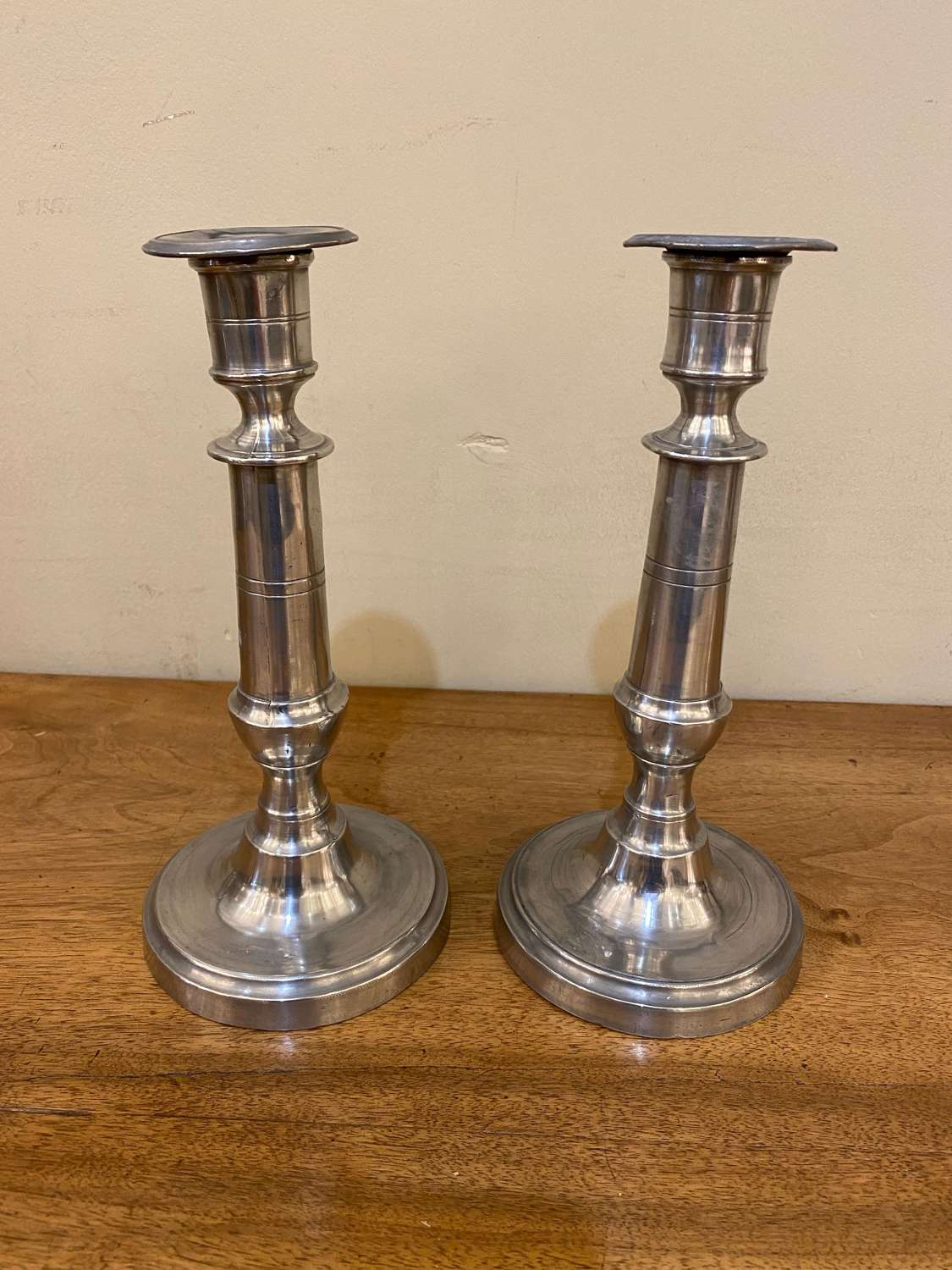 C1890 A Pair of Pewter Candlesticks
