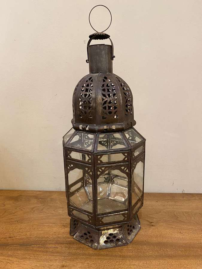 C1930 An Eastern Clear Glass & Tole Lantern