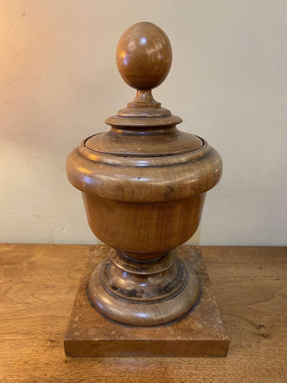 C1880 A Large Turned Wooden Lidded Urn