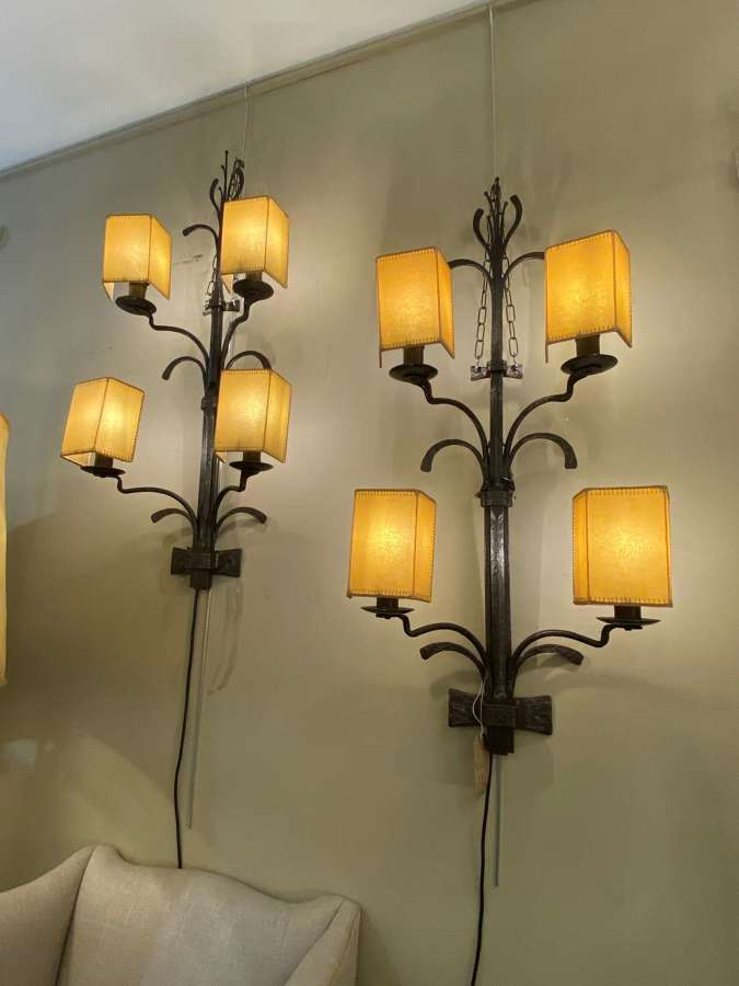 C1950 A Pair of Large Spanish Iron Wall Sconces